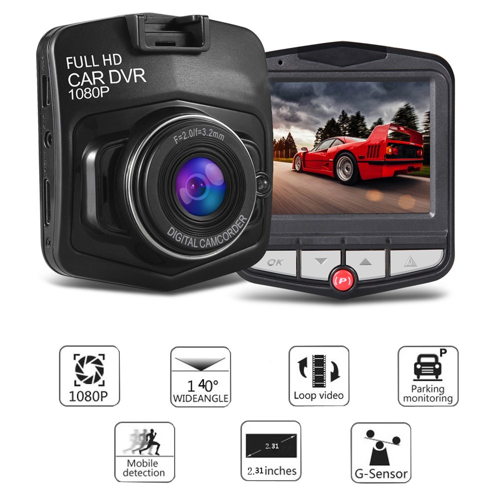 Car Dash Cam - Dashboard Camera Recorder with 2.31\'\' FHD 1080P Resolution Car DVR,Motion Detection,G-Sensor and Super Night Vision 24 Hours Parking Monitor