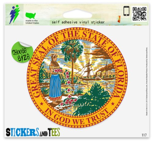 - Florida State Seal Flag Vinyl Car Bumper Window Sticker 2