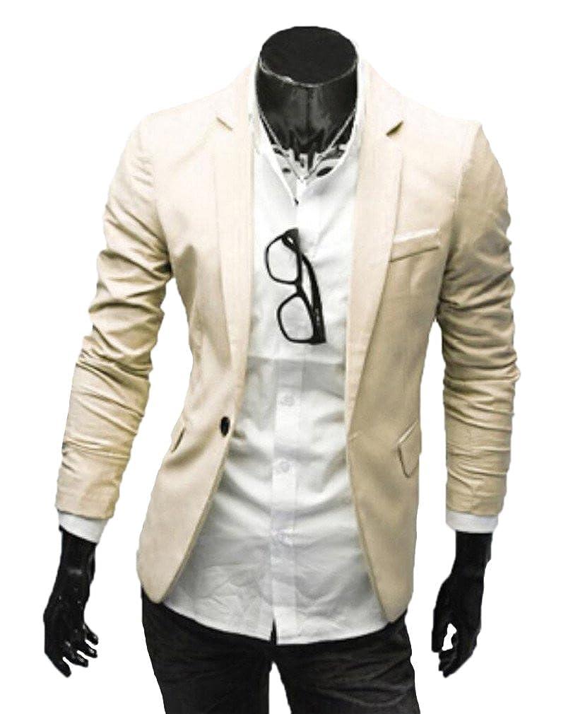 Bstge Mens Slim Fit Multi Color One Button Suit Jacket M Khaki