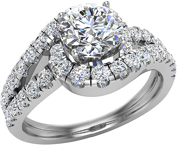 Diamond Engagement Rings For Women 1 25 Ctw Ocean Wave Style Split