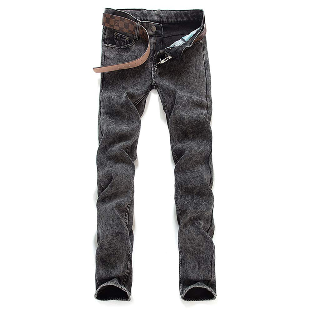 Men Jeans Business Casual Thin Summer Straight Slim Fit Blue Jeans Stretch Denim Pants Trousers