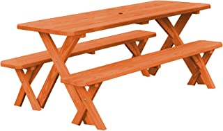 product image for Pressure Treated Pine 8 Foot Cross Leg Picnic Table with Detached Benches- Redwood Stain