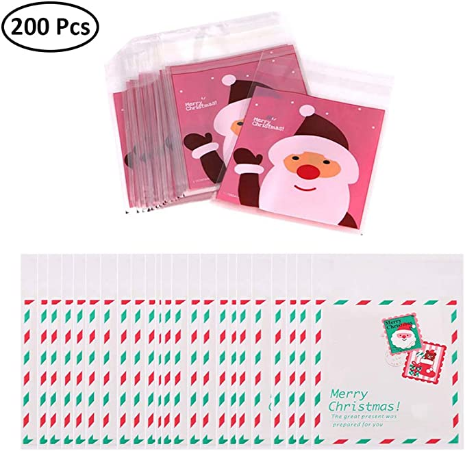 kungfu Mall 200pcs Paquete de Dulces de Galletas de Navidad Paquete de Galletas Dulces Autoadhesivas Bolsas de Regalo Decoraci/ón Embalaje