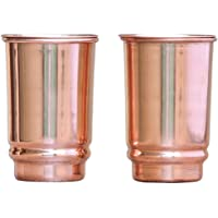 HealthGoodsAU - Pure Copper Tumbler Set of 2 | Traveller's Copper Glass for Serving Water | 350 Ml (11.8 US Fluid Ounce) Capacity