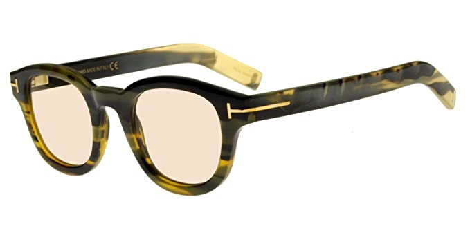 6371f13b23 Amazon.com  Tom Ford Tom N.13 FT 5499-P Striped Green Olive Horn ...