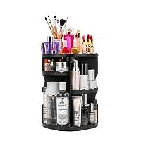 Makeup Organizer, LIFU 360 Degree Rotating and Adjustable Multi-Function Cosmetic Storage Box, Extra large capacity, Space Saving, Fits Toner, Creams, Makeup Brushes, Lipsticks and More ( White & Black)
