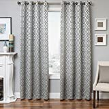 Softline Essex Series Woven Jacquard Window Curtain/Panel / Treatment/Sheer 55″ x 96″ Grommet Top Curtain with Geometric Pattern in Platinum