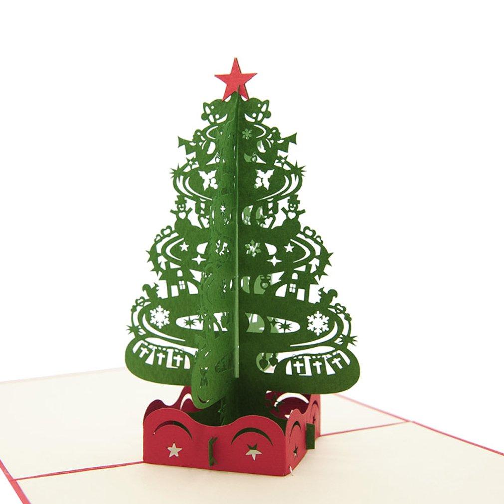 Favour Pop Up Biglietto d' auguri. Design elegante, aufwaendige Realizzato a mano e Sofisticata tecnologia laser su minimo ingombro di creare un filigranes opere d' arte, che si è quando si apre come un albero di Natale. tm003