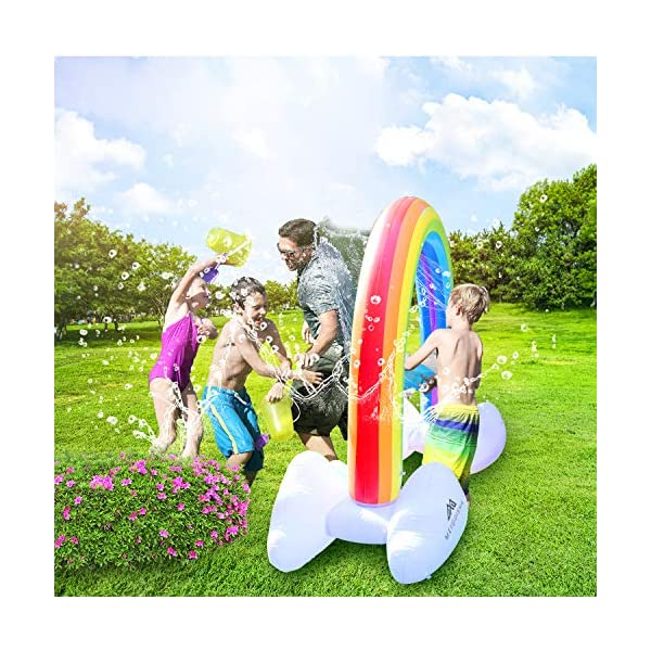 MeiGuiSha Inflatable Rainbow Yard Summer Sprinkler Toy, Over 6 Feet Long, Perfect for Summer Toy List 7
