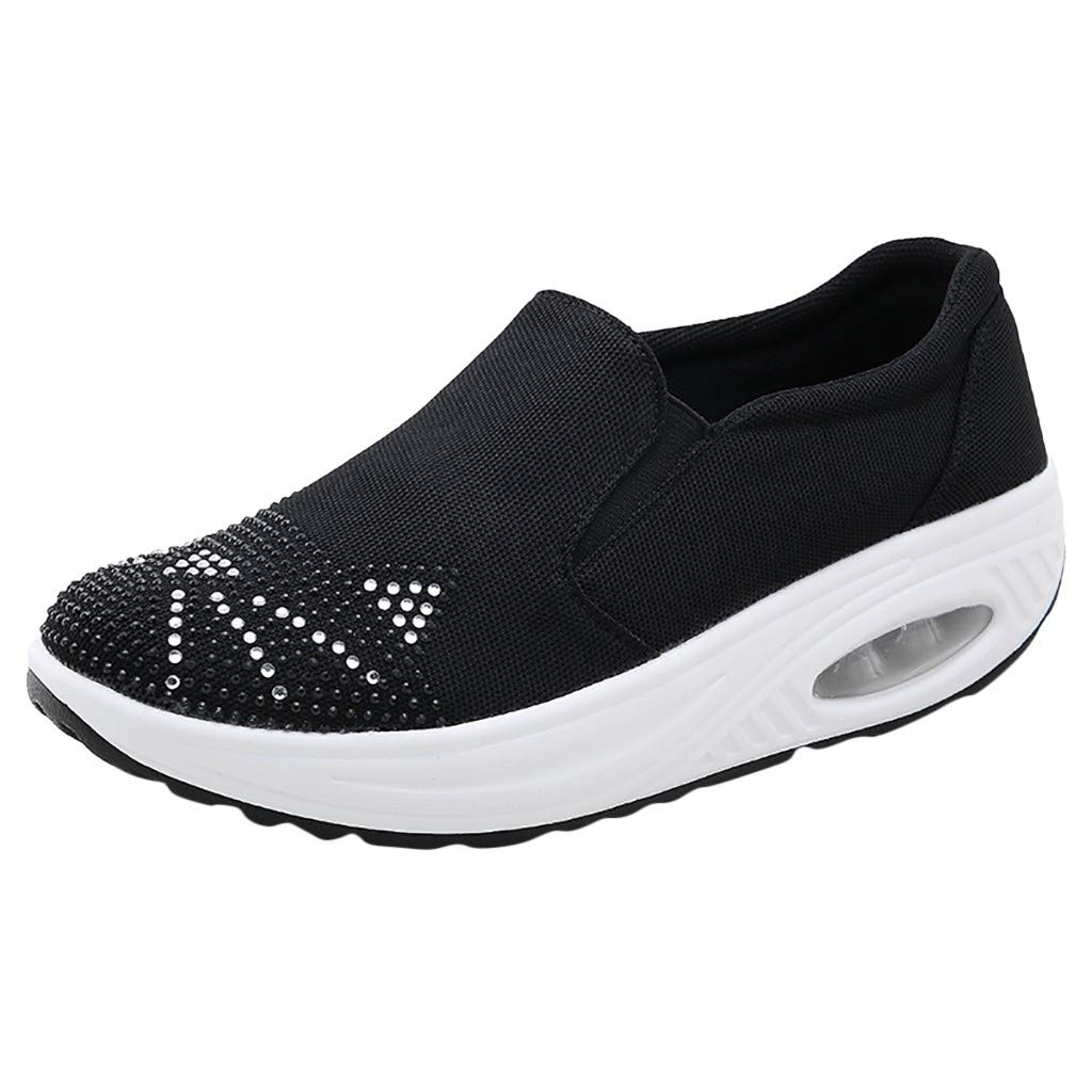 Women's Platform Wedges Sports Shoes Rhinestone Cushion Slip On Thick Bottom Shoes with Comfort Soft Sole Walking Shoes (Black, US:5)