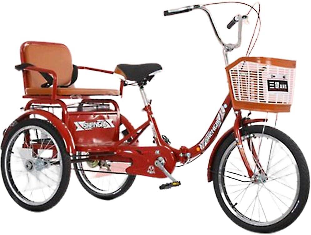 QQJL 16~20 Pulgadas Triciclo Plegable Bicicleta 3 Ruedas Tres Ruedas Bicicletas de montaña para Hombres Mayores Adultos Mujeres con Cesta y Asiento trasero-20 Pulgadas con una Sola Cadena - Rojo