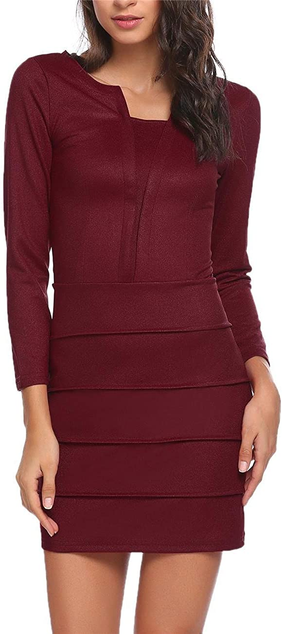 Damen Bodycon Kleid Langarm Etuikleid Elegantes Minikleid Bleistiftkleid Partykleid