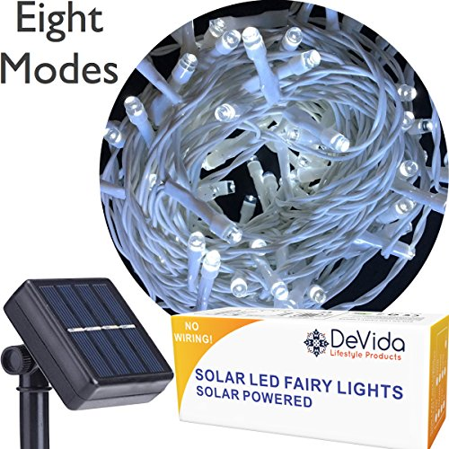 DeVida Cool White Solar String Light on White Cord, Hassle Free 100 LED Outdoor Waterproof Set for Decorative Wedding Arch, Picket Fence, Wall, Tree, Patio, Easy Install (Cool White on White - Easy Arch