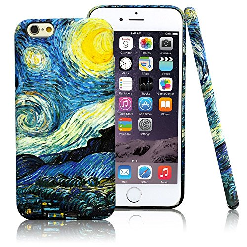 iPhone 6/6S Case,CLOUDS [Famous Paiting Series] Smooth Premium Durable Hard PC Funny 3D Flowing oil painting case with a free screen protector-The Starry Night Van Gogh (Van Iphone)