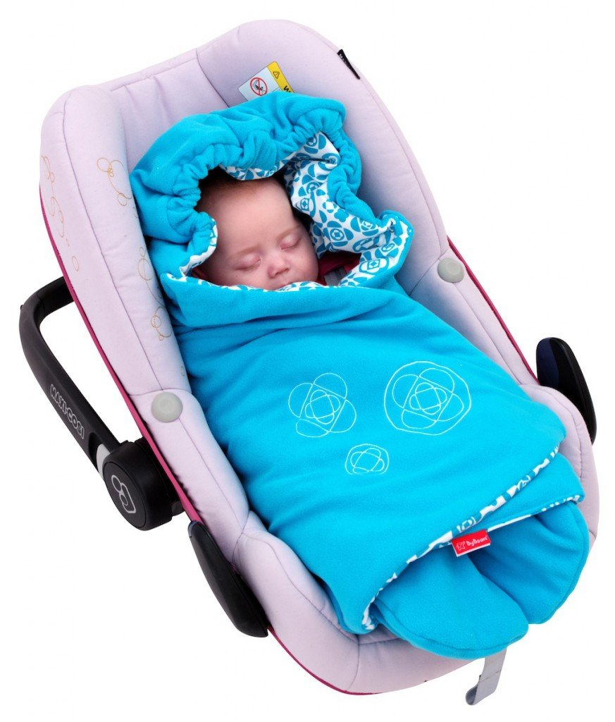 ByBoom® - Swaddling Wrap, Car Seat and Pram Blanket for Spring, Summer and Autumn/Fall, Universal for infant and child car seats eg; Maxi-Cosi, Britax, for a pushchair/stroller, buggy or baby bed, Color:Aqua ByBUM BUM-29