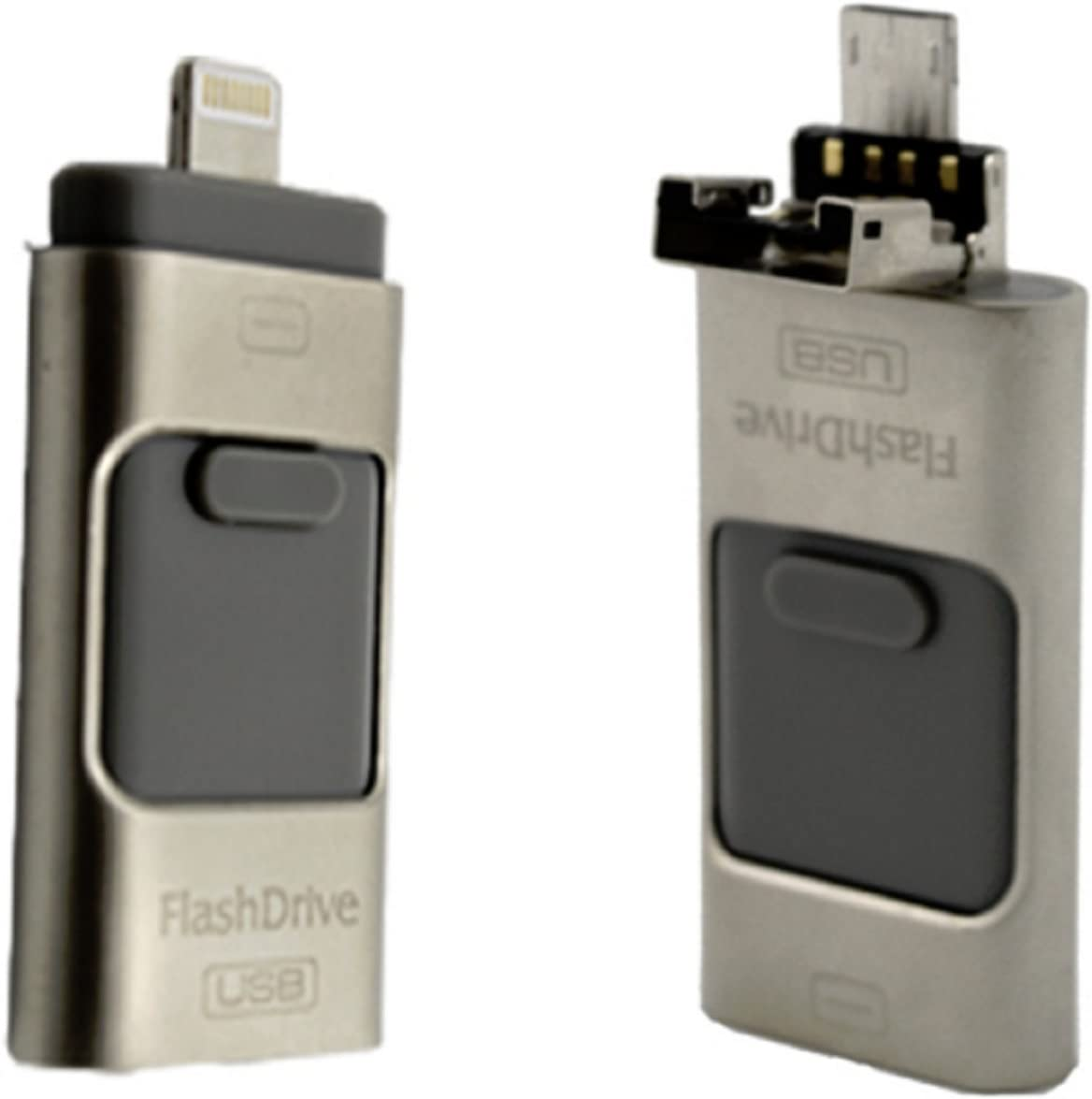 Newest i-Flash iFlash Drive HD U-Disk Micro USB Interface 3 in 1 for Android/iPhone 5/6/5s/6Plus iPad iPod/PC/MAC 8/16/32/64GB (Silver 32 GB)
