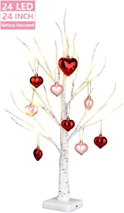 EAMBRITE 2FT White Birch Tree Battery Operated Tabletop Love Tree Decorative Home Wedding Party