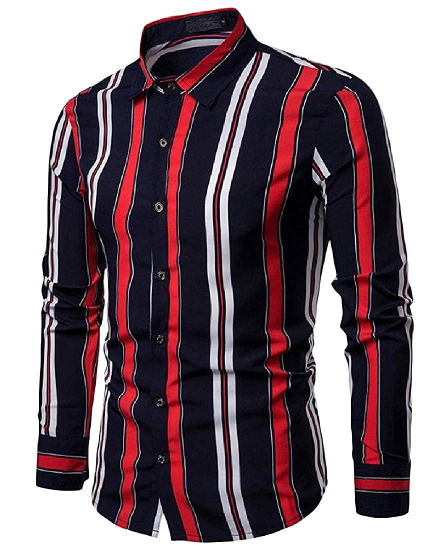 Sweatwater Mens Slim Fit Turn Down Long Sleeve Stripe Button Up Shirts