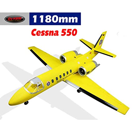 DYNAM RC Airplane Cessna 550 Turbo Jet Yellow Twin 64mm EDF - PNP