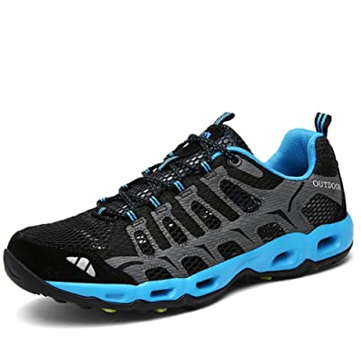 CraneLin Mens Lightweight Outdoor Hiking Shoes Quick Dry Tracking Sneakers Breathable Water Shoes CRHW6126-Black01-40   Shoes