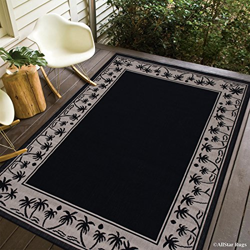 Allstar 5 X 7 Black with Ivory Indoor Outdoor With Palm Tree Patterns Area Rug (5' X 7') (Palm Tree Pattern)