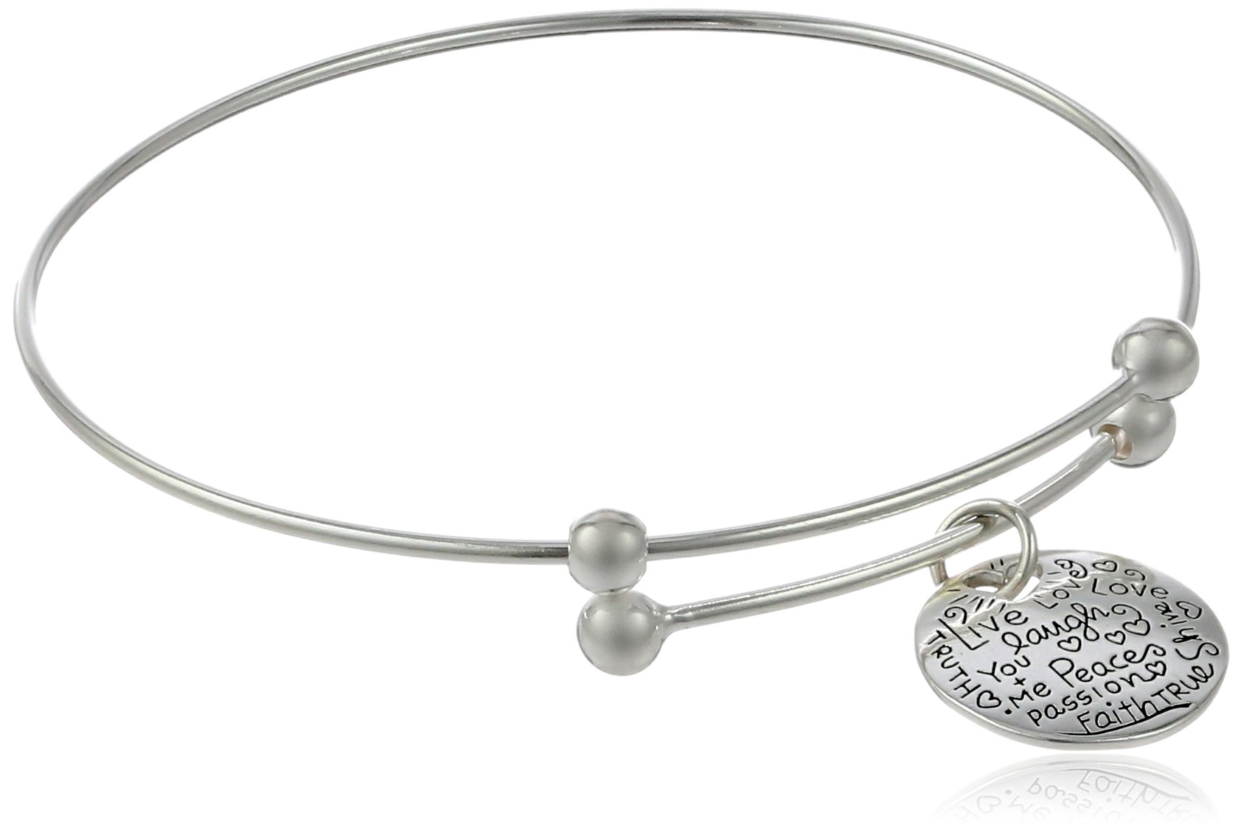 Sterling Silver Adjustable''Live Laugh Love'' Graffiti Charm Bangle Bracelet by Amazon Collection (Image #1)