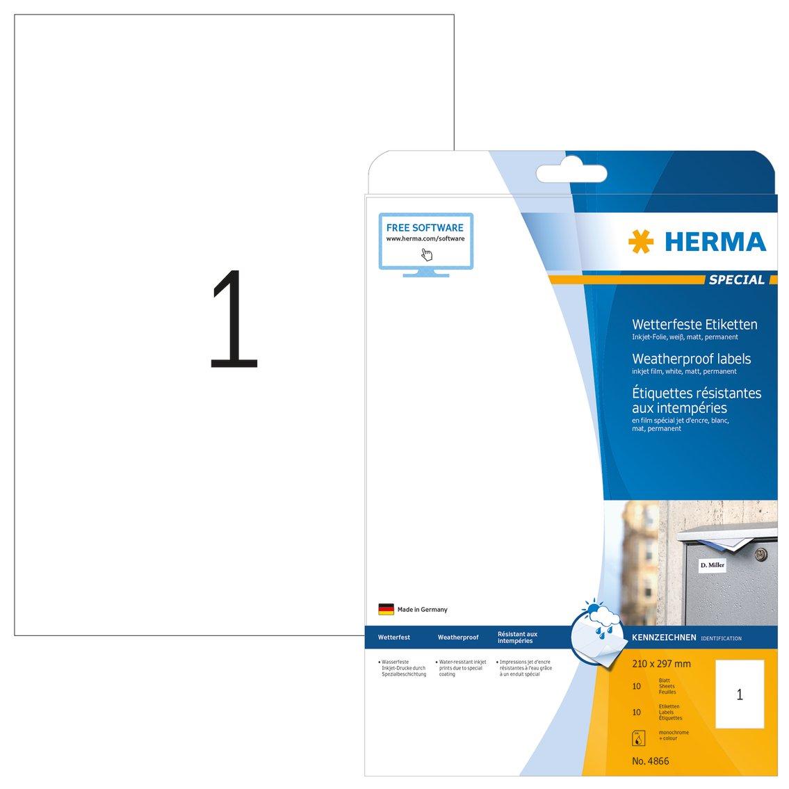 color blanco 210 x 297 mm Herma 8895 Pack de 10 etiquetas
