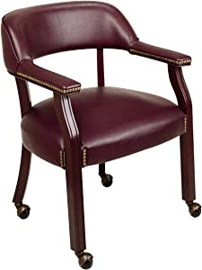 Office Star Traditional Guest Chair with Wrap Around Back and Casters