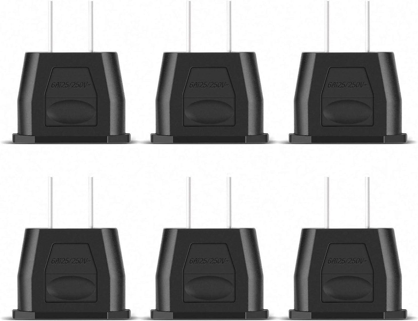 Incutex 6X adaptadores USA adaptadores Estados Unidos Tipo A Adaptador Canada, Negro