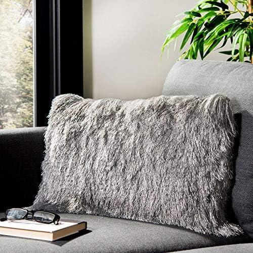 Safavieh Cali Shag Throw Pillow, 12 x 20 , Silver