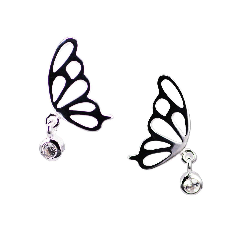 C13 Sterling Silver Butterfly Stud Earrings