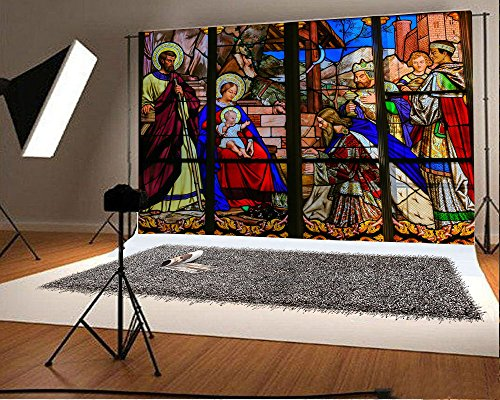 Laeacco 7x5FT Vinyl Photography Backdrop Nativity of Jesus Christmas Mural Painting Vintage Epiphany Stained Glass in Tours Cathedral Photo Background Children Baby Adults Portraits Backdrop