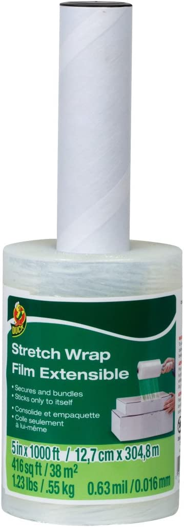 5 Inch x 1000 Feet Clear Single Roll Duck Brand Stretch Wrap With Handle