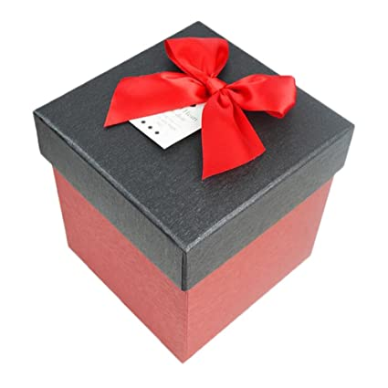 Square Red Cardboard Gift Box With Black Lid Amazon Co Uk Kitchen