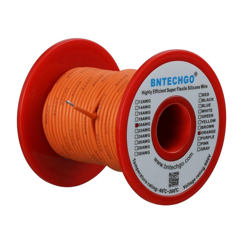 BNTECHGO 20 Gauge Silicone Wire Spool Yellow 50 feet Ultra Flexible High Temp 200 deg C 600V 20AWG Silicone Rubber Wire 100 Strands of Tinned Copper Wire Stranded Wire for Model Battery Low Impedance bntechgo.com