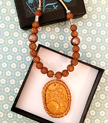 Handmade Fimo (New Handmade Polymer Clay Women's Leather Necklace Oval Pendant Beaded)