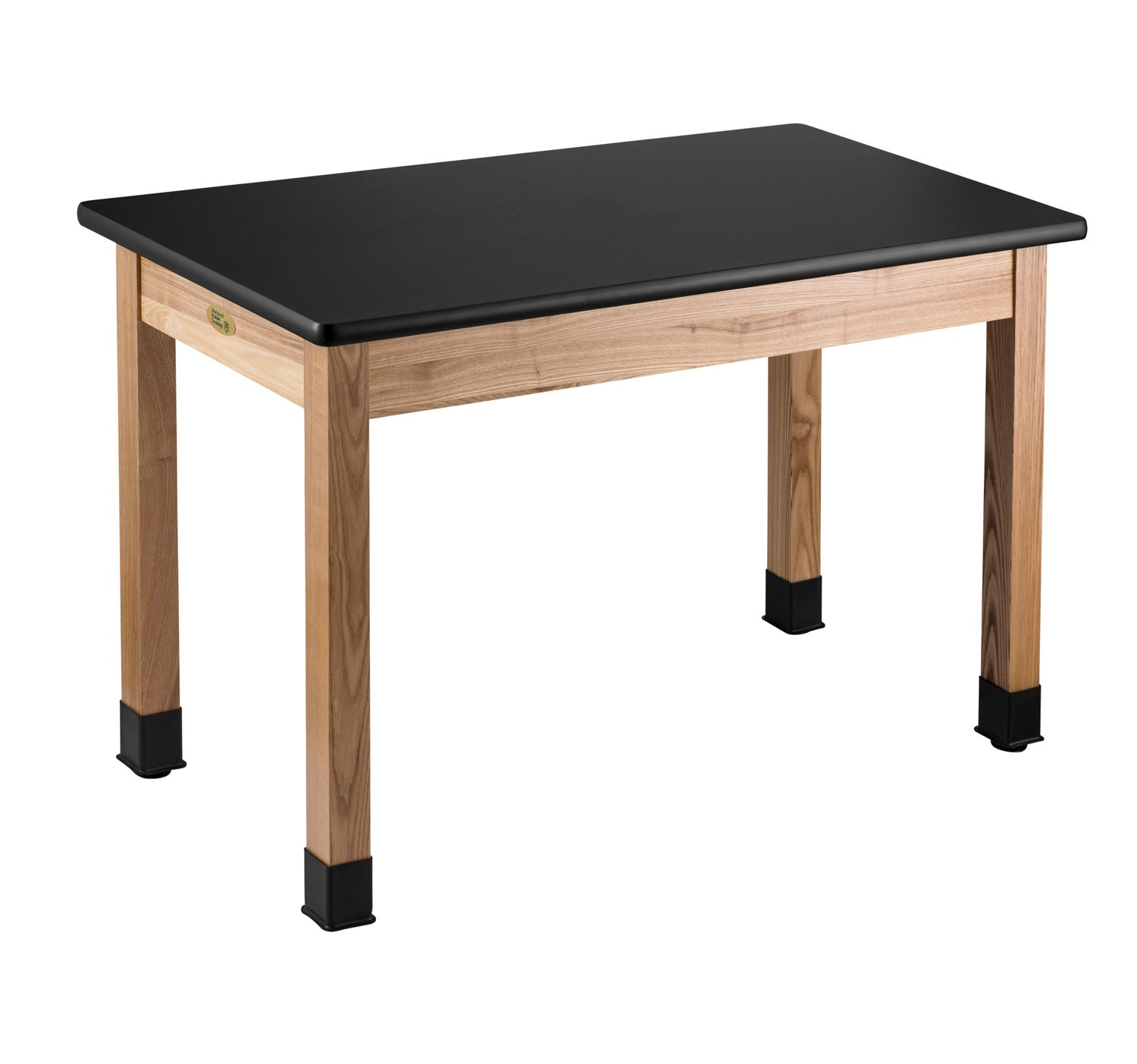 National Public Seating High Pressure Laminate Top Science Lab Table, 72''L X 30''H, Black Top and Ashwood Legs
