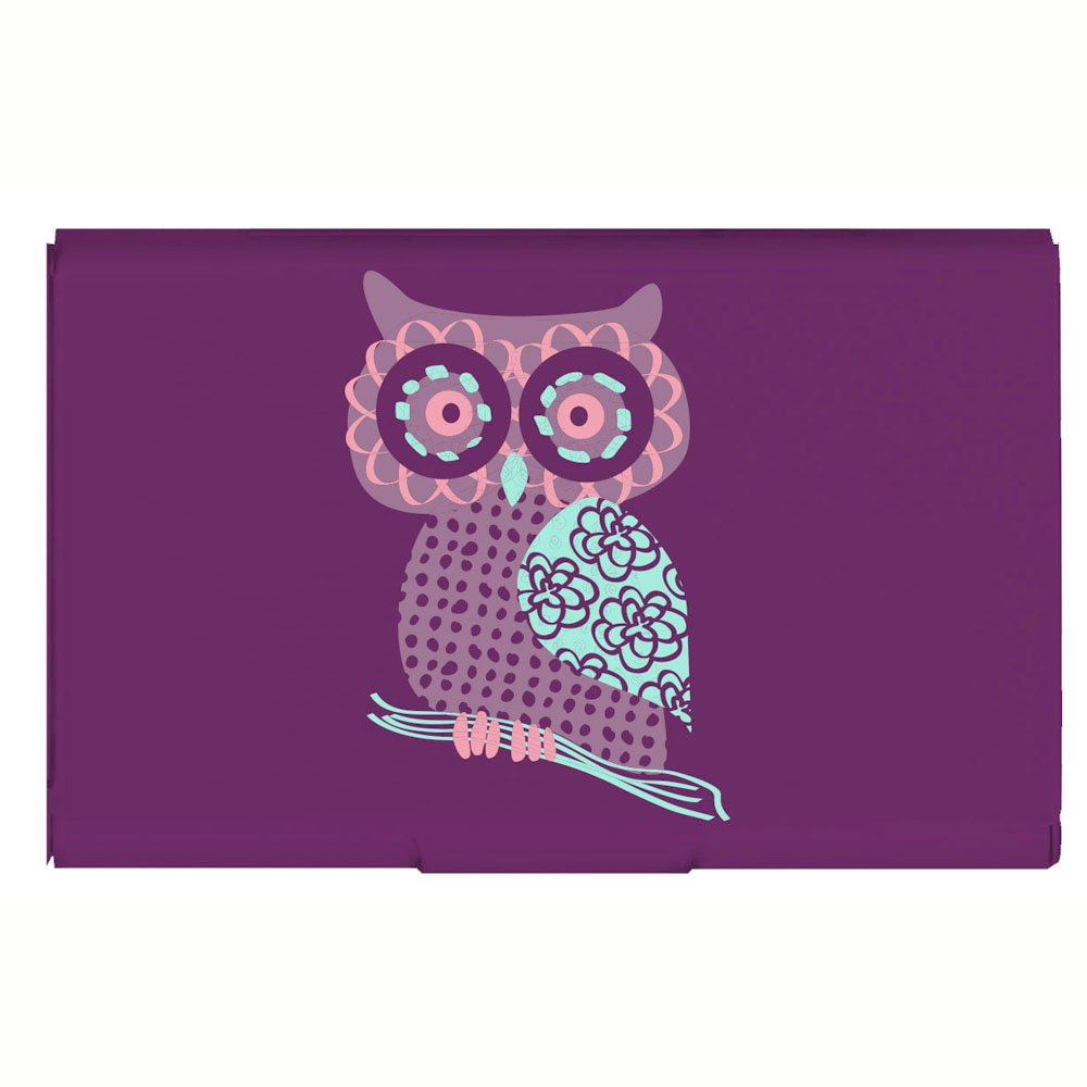 Amazon.com : Business Card Holder Purple Owl Aluminum Flip Case ...