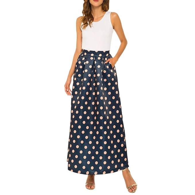 despeje buscar auténtico fábrica Faldas largas Mujer Lunares Estampados Falda Larga de Verano ...