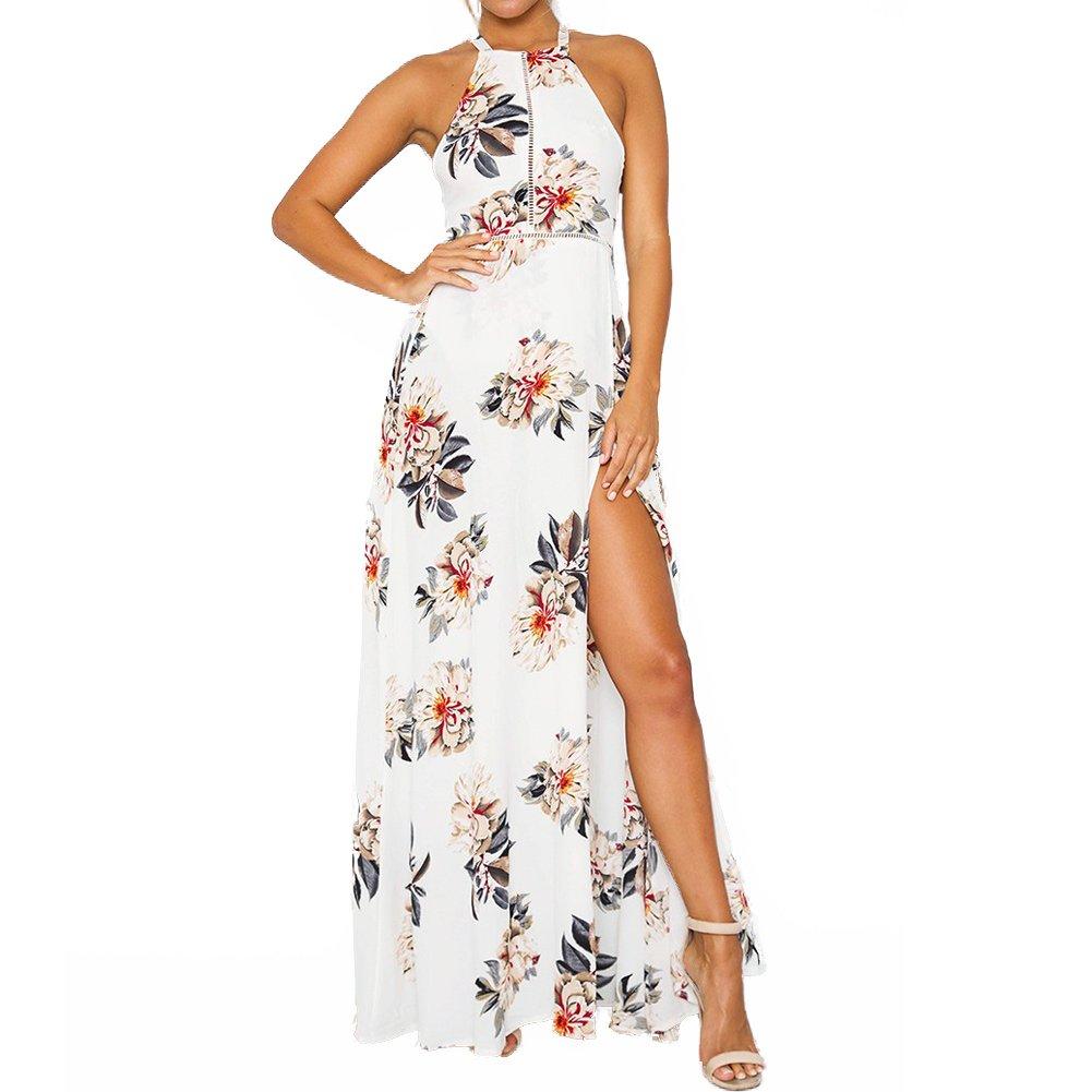 White 1 Romacci Women's Sleeveless Halter Neck Maxi Dress Vintage Floral Print Backless Beach Long Dresses S5XL,bluee Black