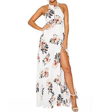 b95b91039d Romacci Women Chiffon Dress Floral Print Halter Sleeveless Split Backless Hollow  Out Beach Maxi Gown Elegant Party One-Piece: Amazon.co.uk: Clothing