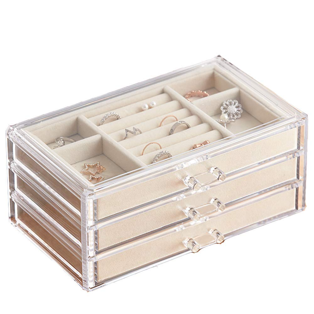 HerFav Jewelry Box for Women with 3 Drawers, Velvet Jewelry Organizer for Earring Bangle Bracelet Necklace and Rings Storage Clear Acrylic Jewelry case by HerFav