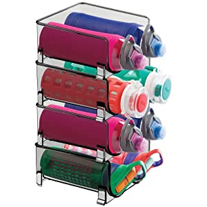 mDesign Plastic Freestanding Water Bottle Storage Organizer for Kitchen Countertop, Table, Pantry, Fridge - Holds Water Bottles, Pop/Soda, Wine, Beer - Stackable, 2 Bottles Each, 4 Pack - Smoke Gray