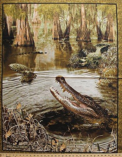 36-x-44-panel-realtree-alligators-crocodiles-reptiles-swamp-scale-border-cotton-fabric-panel-9956