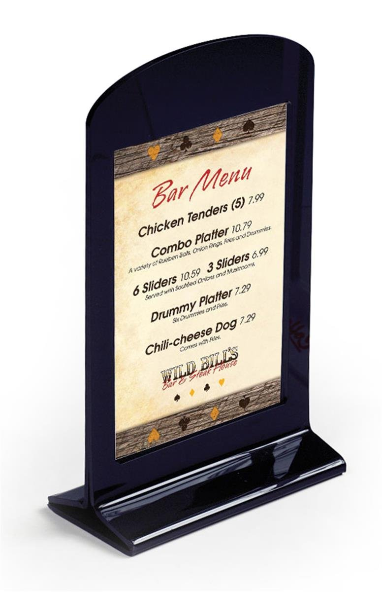 Displays2go Tabletop Bar Menu Card Holder, Plastic Frame for 4'' x 6'' Photo/Graphic, Set of 50, Black (RLC46)
