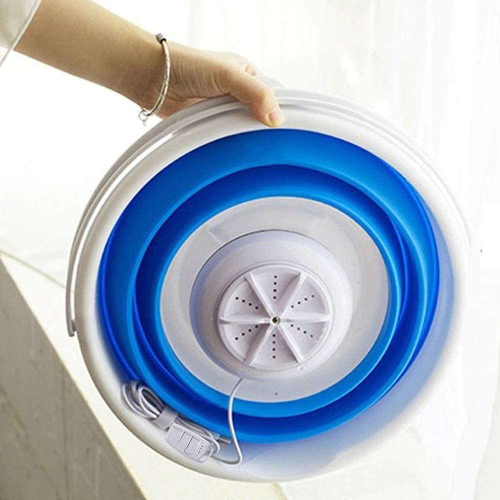 Kacsoo Mini Portable Washing Machine with Foldable Tub 3 in 1 Personal Rotating Ultrasonic Turbines Compact Washer USB Powered for Camping Apartments Dorms RV Business Trip Clothes