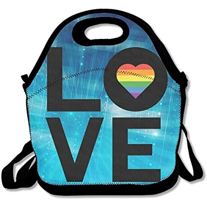 9ce5506b56fb Amazon.com: Rainbow Love Heart Gay Pride Insulated Lunch Bag With ...