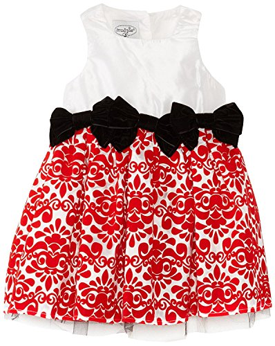 Mud Pie Baby-Girls Newborn Red Damask Dress, Multi, 0-6 -