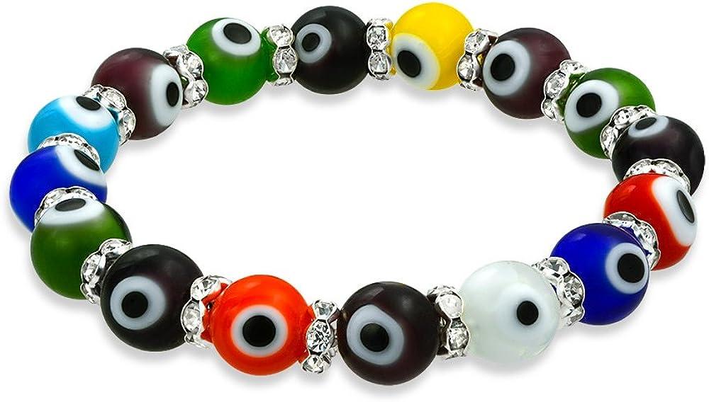 Bling Jewelry Multi Color Colorido Turco Mal De Ojo Glass Stretch Pulsera Elastica Mujer Rondelle Separadores De Cristal De Protección