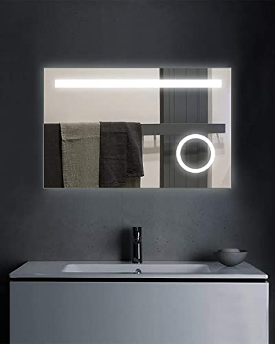 Fumango LED Backlit Bathroom Wall Mount Mirror with Built-in Circular 5X Magnifying Lighted Makeup Mirror, Anti-Fog, UL Listed,36X24 Inch